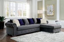 CM6239GY 2 pc Orren ellis wilmington grey velvet like fabric sectional sofa set with chaise