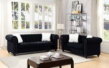 CM6240BK 2 pc Red barrel studio Giacomo glam nail head trim tufted black velvet like fabric sofa and love seat set