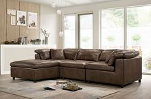 CM6472-SECT-S 4 pc Tamera brown breathable leatherette modular sectional sofa set