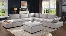 CM6547 6 pc Rosdorf park arlene gray linen like fabric modular sectional sofa with side table