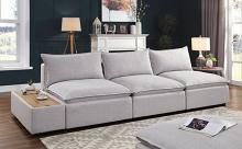 CM6547-4pc 4 pc Rosdorf park arlene gray linen like fabric modular sectional sofa with side table