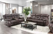 CM6565 2 pc Red barrel studio bucholz flint brown / black leatherette sofa and love seat with recliner ends