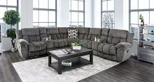 CM6585GY 3 pc Irene gray flannelette fabric sectional sofa with recliner ends