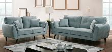 CM6610 2 pc Phillipa light teal flannelette fabric sofa and love seat set