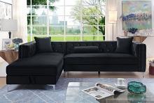 CM6652BK 2 pc Rosdorf park marlon amie black tufted flannelette sectional sofa with pop up storage chaise