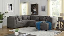 CM6946 3 pc Rosdorf park bethan gray fabric sectional sofa with storage chaise