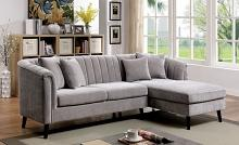 CM6947 2 pc Red barrel studio stansted goodwick gray chenille mid century modern sectional sofa with chaise