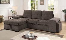 CM6959GY 2 pc Jamiya gray fabric sectional sofa with storage chaise and pop up chaise sleep area and ottomans