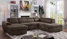CM6963 4 pc Hugo light brown nabuck fabric sectional sofa with storage chaise and pop up chaise sleep area