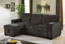 CM6964DG 2 pc Ines dark gray linen like fabric sectional sofa with reversible storage chaise and pop up chaise sleep area