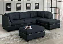 CM6966-OT 3 pc Lita dark gray linen like fabric sectional sofa with chaise nail head trim