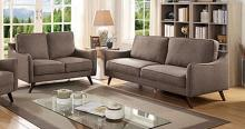 CM6971BR 2 pc Corrigan studio kennedyville maxime light brown linen like fabric sofa and love seat set