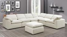 CM6974BG-6PC 6 pc Joel beige soft chenille fabric upholstered modular sectional sofa