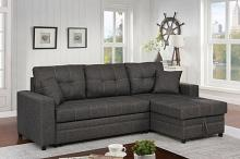 CM6975 2 pc Vide dark gray linen like fabric sectional sofa with storage chaise and pop up chaise sleep area