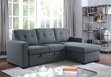 CM6985DG 2 pc jacob dark gray linen like fabric sectional sofa with reversible chaise and pop up sleep area