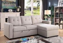 CM6985LG 2 pc jacob light gray linen like fabric sectional sofa with reversible chaise and pop up sleep area