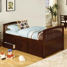 CM7032-524 Harriett bee clemson dark walnut wood finish mission style platform captain twin size bed