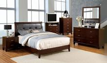 CM7068 5 pc enrico i brown cherry finish wood with fabric padded headboard queen bedroom set