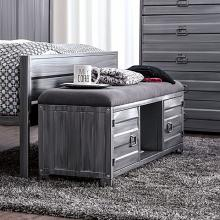 CM7075BN Mccredmond hand brushed silver industrial style metal storage bench