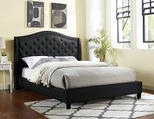 CM7160BK Rosdorf park carly black padded and tufted queen bed set with nail head trim