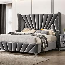 CM7164Q Carissa gray fabric upholstered art deco style design queen bed with nail head trim accents