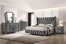 CM7164 5 pc Carissa gray fabric upholstered art deco style design queen bedroom set