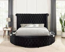 CM7177BK-Q Red barrel studio linford delilah black fabric upholstered art deco style design round queen bed with nail head trim accents