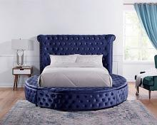 CM7177BL-Q Red barrel studio linford delilah blue fabric upholstered art deco style design round queen bed with nail head trim accents