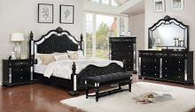 CM7194BK-5pc 5 pc Azha black finish wood mirror accents tufted queen bedroom set