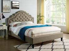 CM7537GY Rosdorf park aubree gray padded and tufted queen bed set with nail head trim