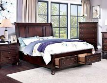 CM7548CH-DR Canora grey sherlene wells dark cherry finish wood queen bed with drawers