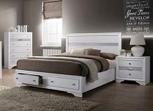 CM7552-Q  Rosdorf park schramm chrissy white finish wood queen bed with drawers in foot board