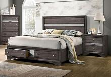CM7552GY-Q  Rosdorf park schramm chrissy grey finish wood queen bed with drawers in foot board