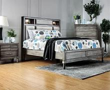 CM7556Q  Gracie oaks dryi Daphne transitional style gray finish wood queen bed with bookcase headboard