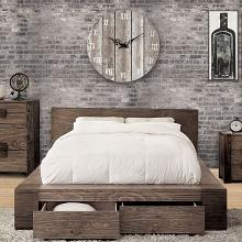 CM7629Q Loon peak janeiro transitional style rustic natural tone finish wood queen platform bed with drawers in the footboard