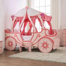 CM7630 Hokku designs Arianna pink / light pink canopy style princess carriage design twin size kids bed