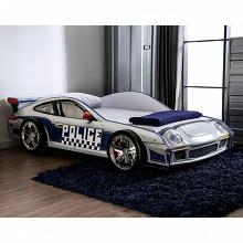 CM7640 Hokku designs poe police racing car style design twin size kids bed blue and white w/ LED lights