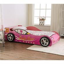 CM7642 Hokku designs Velostra racing car style design twin size kids bed pink w/ LED lights