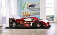 CM7643RD Hokku designs dustrack meteoric racing car style design twin size kids bed red