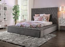CM7897GY Red barrell studio linford Davida grey tufted flannelette fabric queen bed frame set with storage