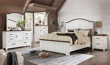 CM7962 5 pc Rosdorf park Alyson distressed white and walnut two tone finish wood plank style queen bedroom set