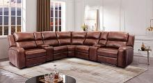 CM9901 3 pc Darby home co callie brown faux leather sectional sofa with power motion recliner ends and LED lighting