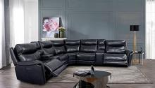 CM9904 3 pc Darby home co braylee dark navy top grain leather match sectional sofa with power motion recliner and headrest ends and USB chargers