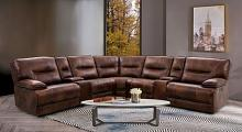 CM9905 3 pc Darby home co louella brown top grain leather match sectional sofa with power motion recliner and headrest ends and USB chargers