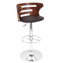 Cosi Height Adjustable Mid-century Modern Barstool with Swivel in Walnut and Brown