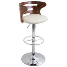 Cosi Height Adjustable Mid-century Modern Barstool with Swivel in Walnut and Cream
