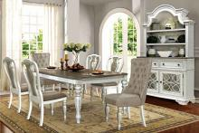 Mc Ferran D738-7PC 7 pc One allium way birchlane antique white finish wood dark top dining table set