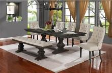 D82-7PC-BG 7 pc Canora grey ruger antique rustic grey finish wood dining table set with bench
