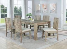 VH-5200-7PC 7 pc Gracie oaks Dana point natural finish wood chevron design dining table with leaf set