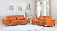 411-CM-2PC 2 pc Orren ellis hawkesbury divanitalia camel italian leather sofa and love seat set